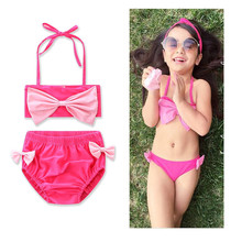 2017 hot selling models girls clothing with the lovely pink butterfly swimsuit