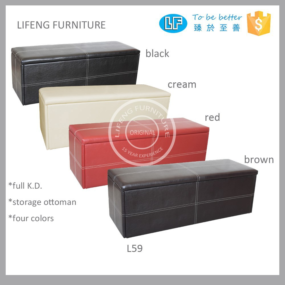 full KD faux leather storage ottoman L59 more Europe style available in 4 colors