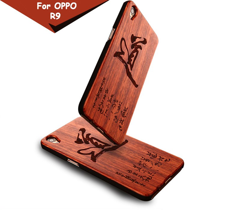 The newest laser carving mahogany cherry walnut maple wood etc case for oppo r9