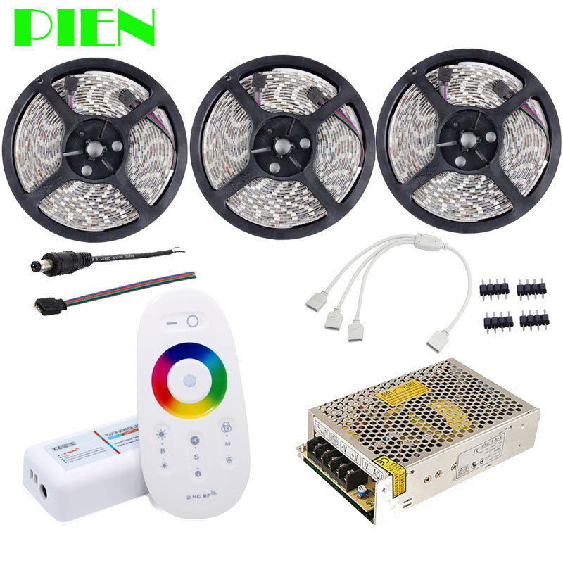 15m RGBW Warm white led strip Waterproof 5050 tape ribbon 12V + RF Remote Controller + Power adapter Kit Free shipping