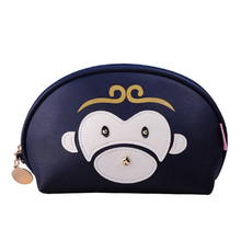 Cute PU leather portable washable cosmetic bag shell clutch bag
