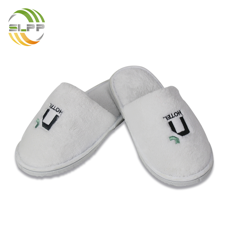 Non-slip white coral fleece kids hotel slippers for 5 star hotel