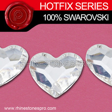 Wedding Dress Swarovski Elements (2808) Heart 14mm Crystal Iron On Hotfix Stone