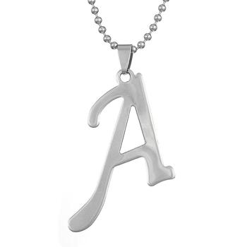Fashion Stainless Steel Letter A/B/C/D/E/F/G/I/J/N/O Initial Pendant Jewelry Necklace