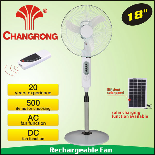 18'' battery operated panel solar power fan with remote for home