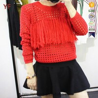 Women Hollow Fringe Pullover
