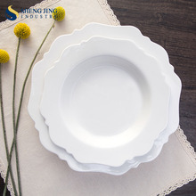 Custom Flower Shape Ceramic Dinner Plates Deep Round Plate For Wedding/ Party/ Theme Restaurant