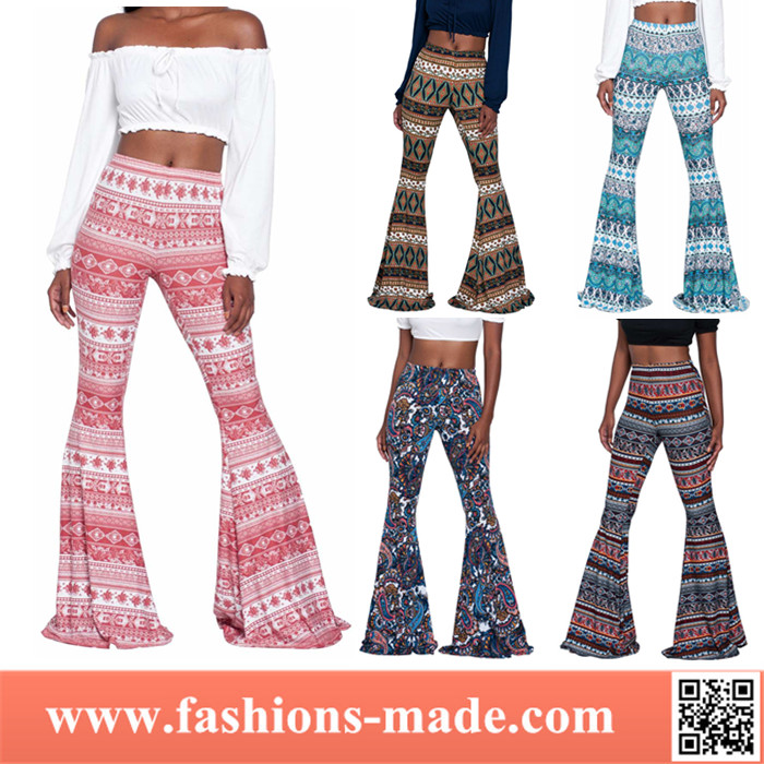 Vintage Ethnic Printed Palazzo Women Bell Bottom Flared Pants Wholesale