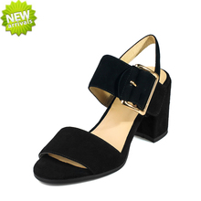 rough leather buckle sheep skin insole ladies chunky heels chinese sandals