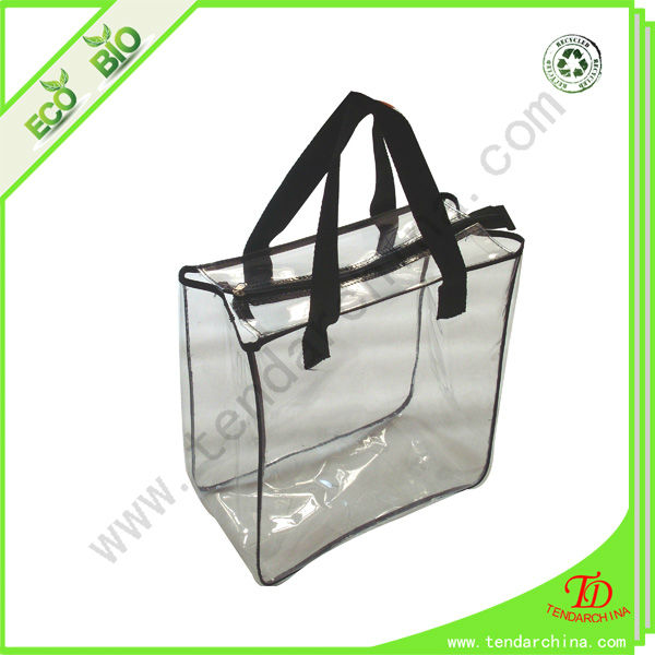 Clear PVC Zipper Handbag Supplied By China Factory Plastic Beach Bag
