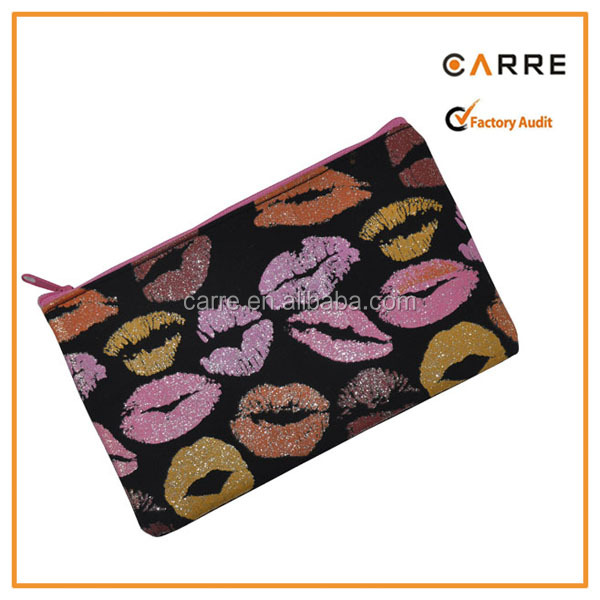 prmotional glitter lip pencil case pencil pouch make up