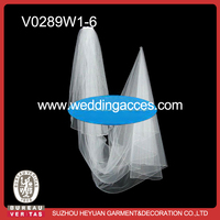 V0289W1-6 Silvery bead-edged cathedral length bridal Veil for wedding