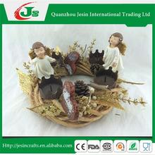Christmas rattan wreath candle holders with angel statues