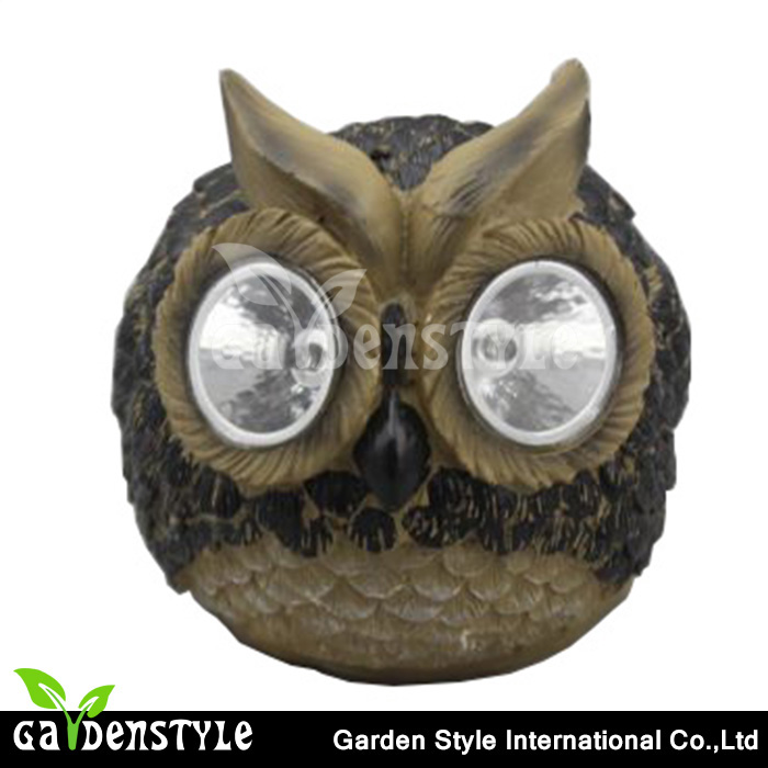 outdoor led garden lights Owl Accent shape, small Statuary cheap solar lights, resin construction bright eye small solar lights