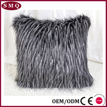 18''square high-end faux fur oriental feather cushion cover