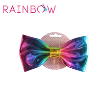 Colorful metallic leather hair bows,rainbow pu bows for girls