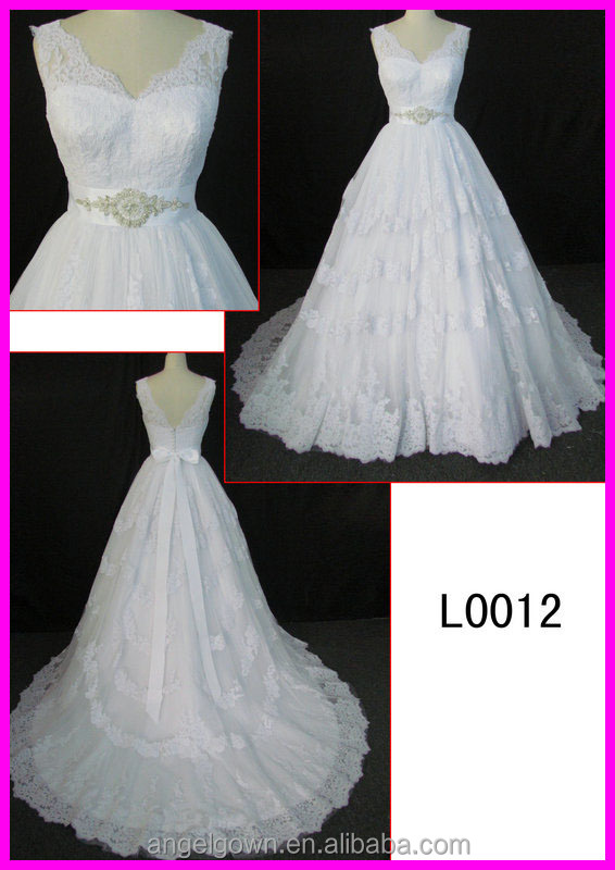 2015 guangzhou elegant soft lace ball wedding gowns with crystal belt L0012