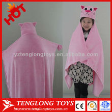 Lovely pink big size cat plush blanket for kids