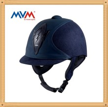 navy blue microfiber cover equestrian helmet with flocking cover #71552-Y5