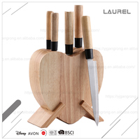 Fashionable wood + stainless steel knife set kitchen