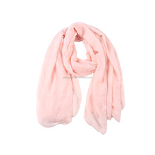 wholesale solid color with heavy bead brim manufacture sale customized muslin hijab fashion pashmina scarf shawl