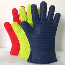 Silicone BBQ Gloves witgth 5 Fingers Oven Mitts Pot Holders with Heat Resistance up to 425F