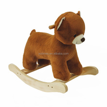 Wholesale baby wooden bear plush rocking horse for sale W16D111