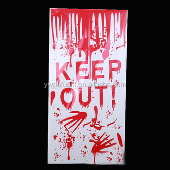 KEEP OUT! halloween bloody door cover party accessory