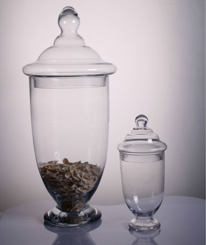 Transparent glass Candy jars container with lids