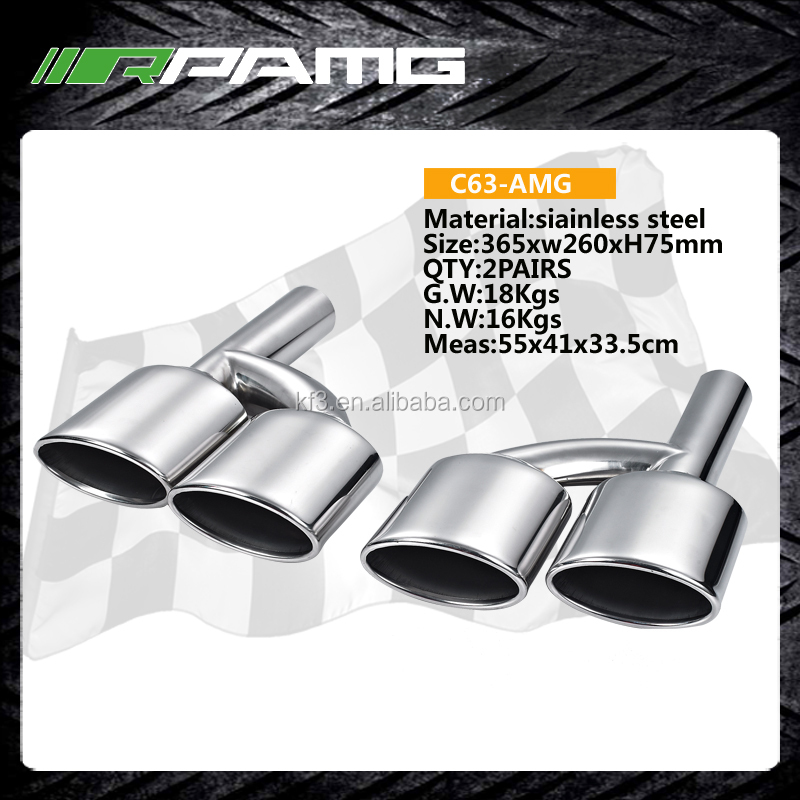 W221 Dual EXHAUST TIPS MUFFLER PIPE C63 Amg style
