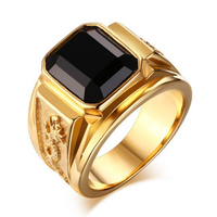 Jewelry black stone rings men gems, stainless steel rings design with gems (HF-092)