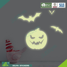 Non-toxic halloween eco friendly removable custom glow in the dark pumpkin stickers for kids room