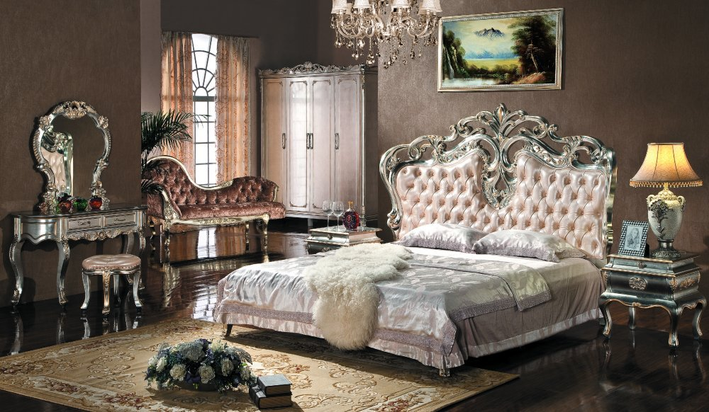 European Style Bedroom Furniture Set Upholstered Headboard