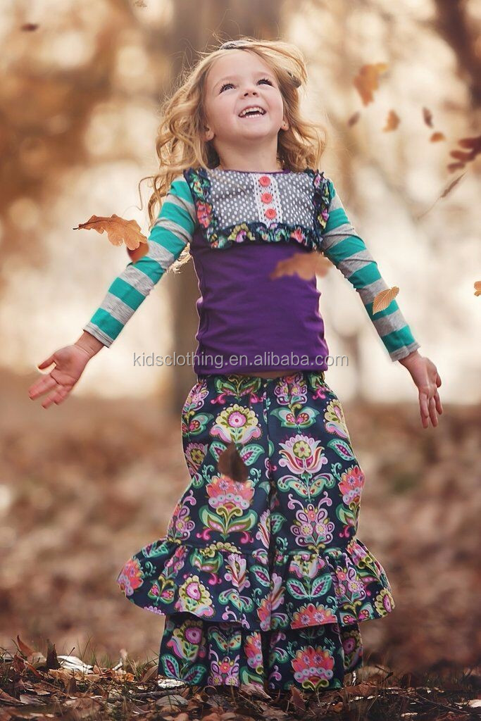 2017 newest floral legging outfit kids clothes botique children clothing wholesale girls spring clothse set