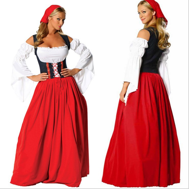 Hot Sale New Fancy German Beer Girl Costume Women Sexy Long Sleeve Dress Red Oktoberfest Beer Maid Peasant Dress Cosplay Costume