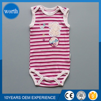 new design sleeveless printed and patched striped new born baby clothing