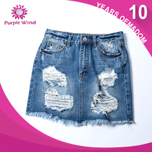 ODM&OEM young girls in short denim holes skirt