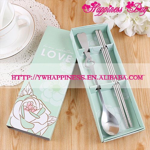 Love Small Gifts Wedding Favor Creative Portable Stainless Steel Tableware Spoon Chopsticks Kitchen Wedding Gift