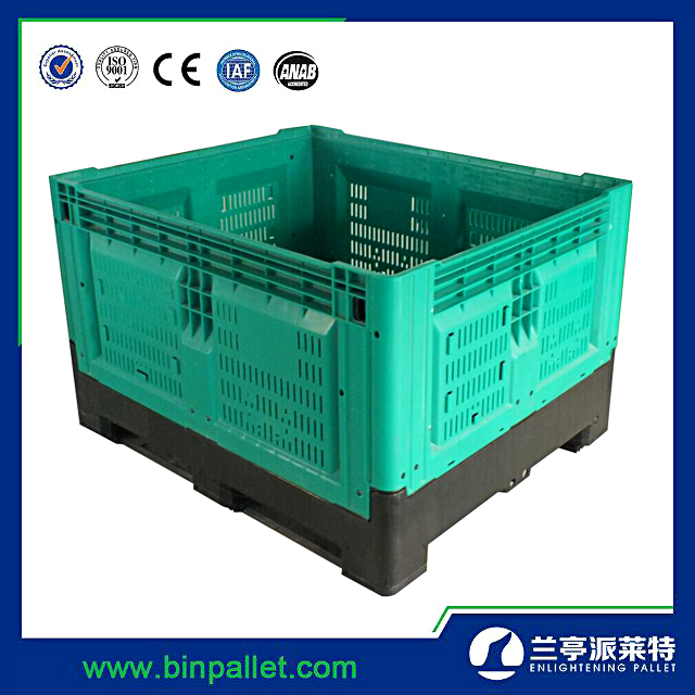 Cheap bulk plastic containers folding fruit bins 1200*1000mm collapsible crates plastic