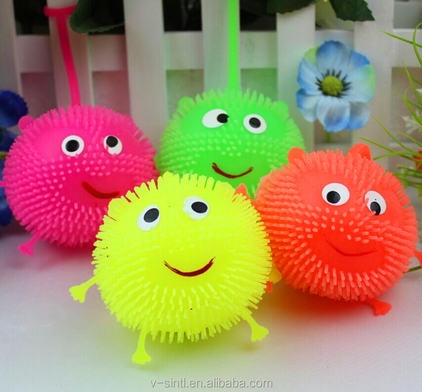 2015 Popular Smiley Led Flash bouncing ball , Led Flash plush ball, Colorful LED bouncing ball
