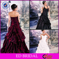 EDW397 Latest Ruffle Sweetheart Neckline Removable Halter Black White Red Wedding Dresses