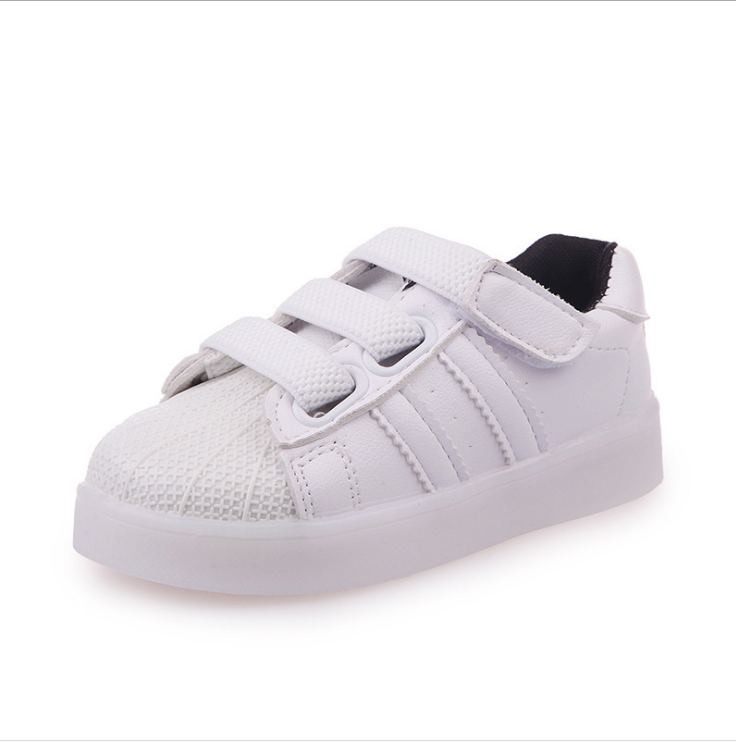 Solid Color Children Sport Sneakers Kids Baby LED Shoes China Product