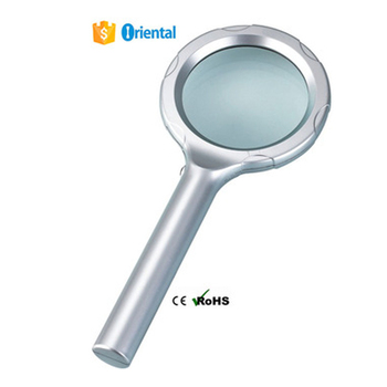Acrylic Magnifier AA Battery Powered,6 LED Magnifier 8B-2,Plastic Reading Magnifying Glass+Paper Packaging Box