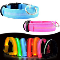Wholesale LED Luminous Nylon Pet Dog Collars Safety Flashing Light