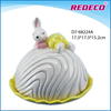 Easter ceramic rabbit butter plate with lid for decor