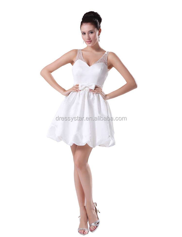 China simple design white short beaded shoulder satin wedding dress