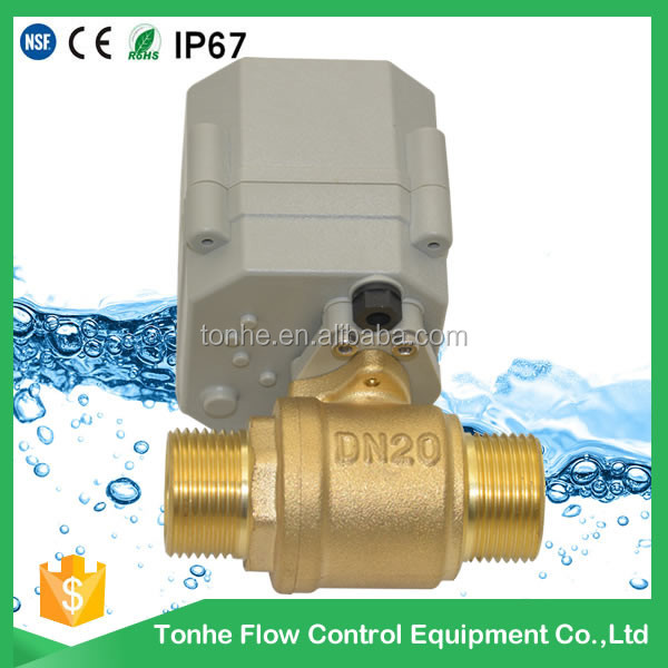 2 way DN20 brass electric valve motorized shut off ball valve 5V 12V 24V 220V