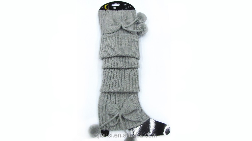 women boot sock pretty bowknot long style warm leg warmer knit boot cuff socks