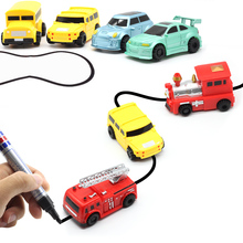 Inductive draw Black lines toys car Magic lines toy cars