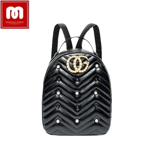 Fashion pearl bag women leather backpack PU waterproof shoulder bag school  shopping tote laptop bear travel 6c7147bbf3